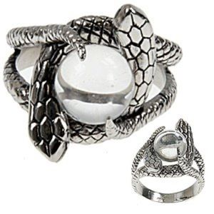 Vintage Stainless Steel Snake Crystal Ball Ring!